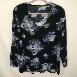 Tibi blue abstract floral v neck blouse size 10